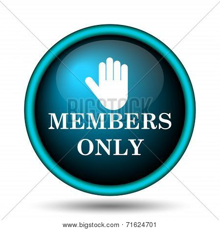 Members only icon. Internet button on white background. poster