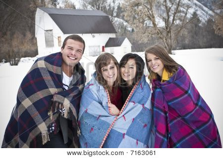 Young Adults Having fun in Winter
