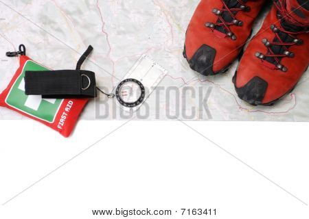 Hikinge quipment on map isolated clipping path