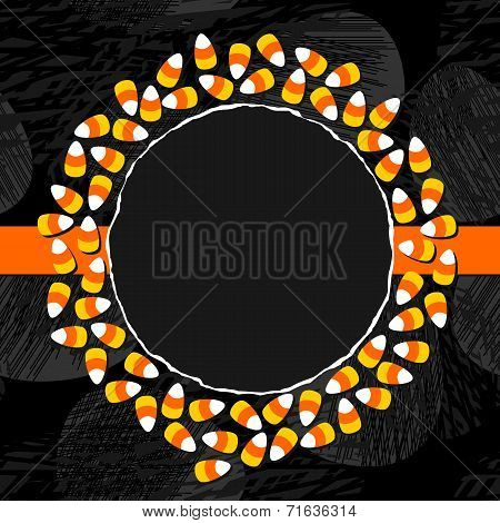 Halloween candy wreath holiday card