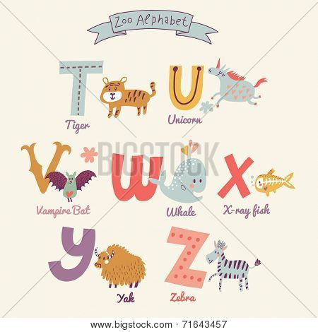 Cute zoo alphabet in vector. T, u, v, w, x, y, z letters. Funny cartoon animals. Tiger, unicorn, vampire bat, whale, x-ray fish, yak, zebra in bright colors