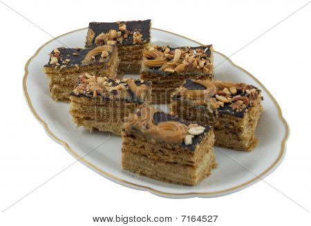 Pieces Of Honey Cake On A Plate