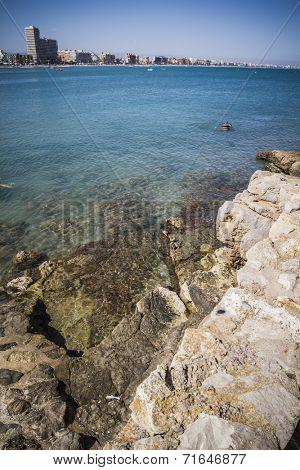 mediterranean summer scene, peniscola city located in spain