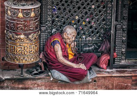 Old Woman Near Bodnath Stupa