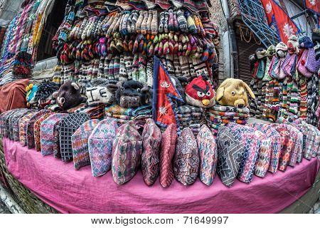 Nepali National Hats At Market