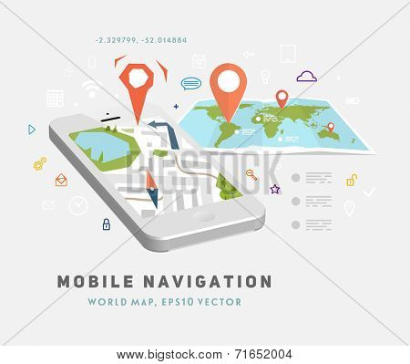 World Map. Mobile GPS Navigation. Mobile Phone. Mobile Technologies Concept.