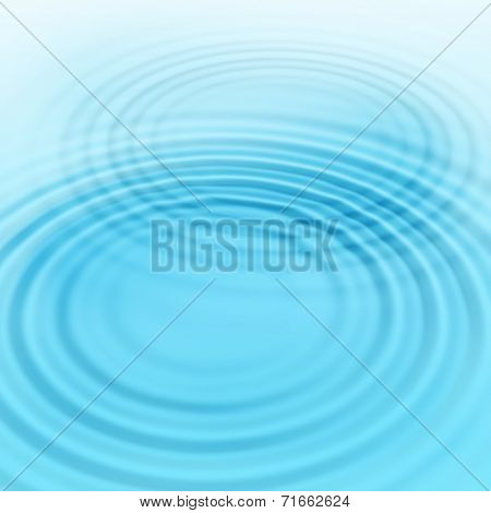 Abstract blue background with radial water ripples poster