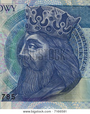 Polish Medieval King On Banknote