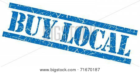 Buy Local Blue Square Grungy Isolated Rubber Stamp