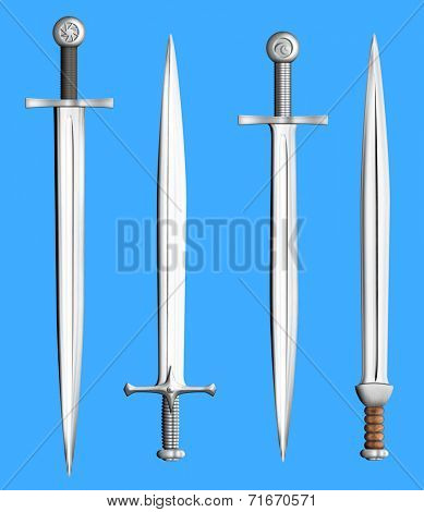 metal swords collection isolated chroma key