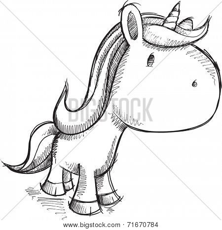 Cute Sketch Unicorn Vector Illustration