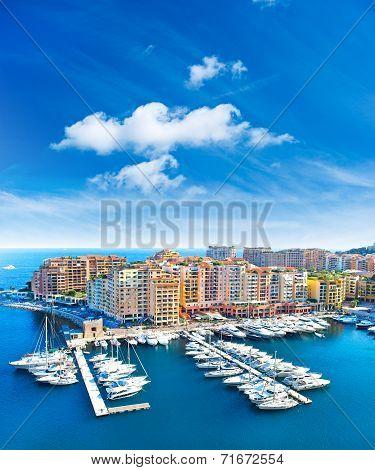 Panoramic View Of Marina In Monaco