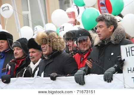 Ryzhkov, Aleksashenko, Kasparov and Nemtsov on the March for fair elections