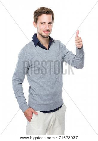 Caucasian man with thumb up