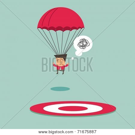Off target from the point. Flat vector illustration
