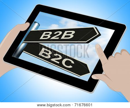 B2B B2C Tablet Meaning Business Partnership And Relationship With Consumers poster