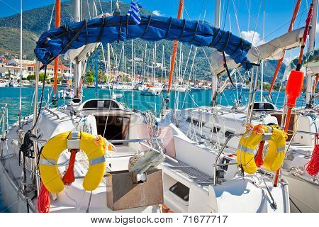 Yacht , Sailboat in Nydri in Greece. Yachting concept.
