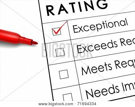 Exceptional Check Box With Red Pen Over Rating Survey