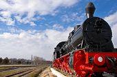 Old Red Steam Locomotive in Tulcea Romania. poster