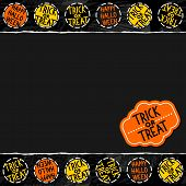 Happy halloween trick or treat white black yellow orange round badges autumn holiday seamless pattern on dark background on horizontal torn paper seasonal horizontal seamless border with retro sticker poster