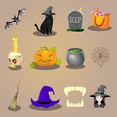 halloween accessories and Characters icons set vector illustration poster