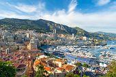 MONACO - MAY 22 : view of Monaco harbor prepared for Formula 1 Grand Prix de Monaco. Luxury yacht in port Hercules on May 22th 2012 Monaco poster
