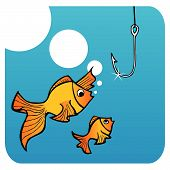 Father fish teaching his small son not to bite the hook. poster