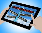 Core Values Tablet Meaning Integrity Ethics Principals And Accountability poster