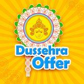 vector illustration of Dussehra Offer with goddess Durga poster