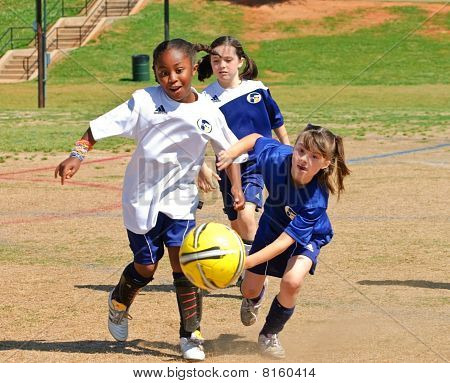 Young Girl's Playing Soccer