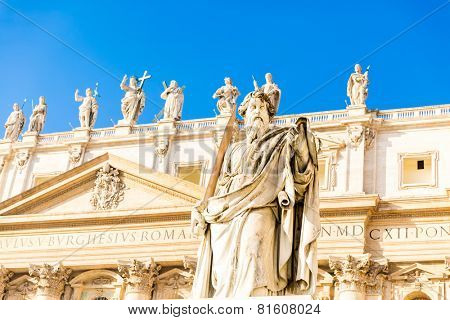 St. Paul Statue in Vatican City, Italy.