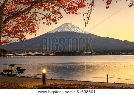Mt. Fuji with autumn foliage at Lake Kawaguchi in Japan.