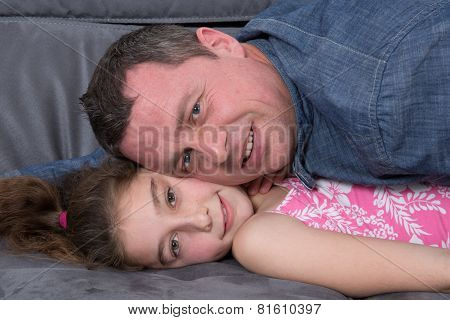 Father with his daughter Relaxing