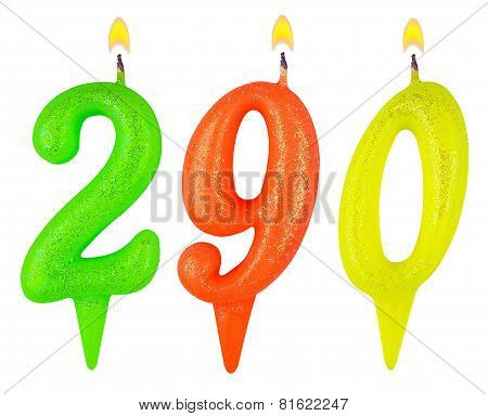 candles numbertwo hundred ninety isolated on white background poster