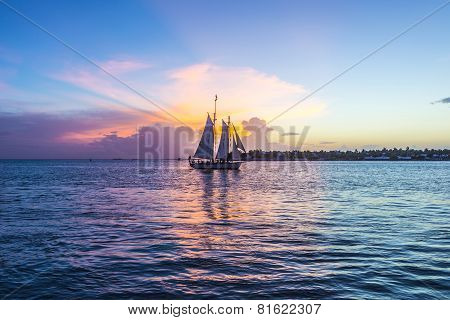 Sunset At Key West With Sailing Boat
