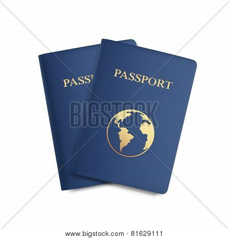 Vector Set of Passports with Map Isolated on White