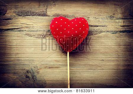 Valentines Vintage Handmade Heart over Wooden Background. Valentine over Wood. Retro Styled Wallpaper. Valentine's Day