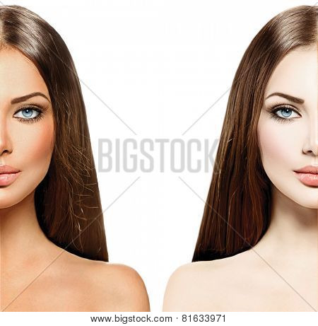 Beautiful young woman with tanned skin before and after tan. Face divided in two parts, tanned and natural. Suntan concept. Isolated on a white background, poster
