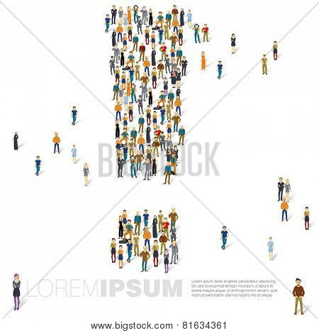 People crowd exclamation mark vector template.