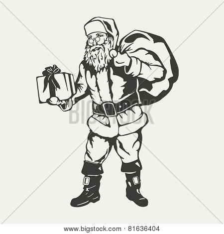 illustration of Santa Claus. Black and white style