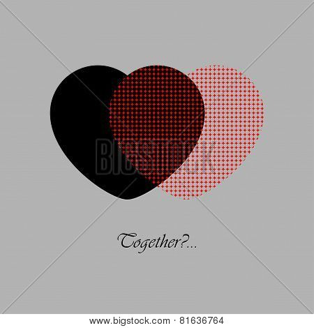 Two Red And Black Hearts With Text