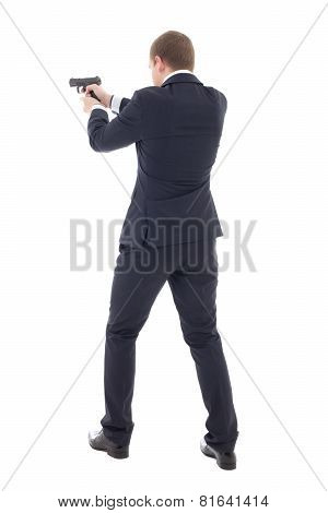 Back View Of Special Agent Man In Business Suit Posing With Gun Isolated On White