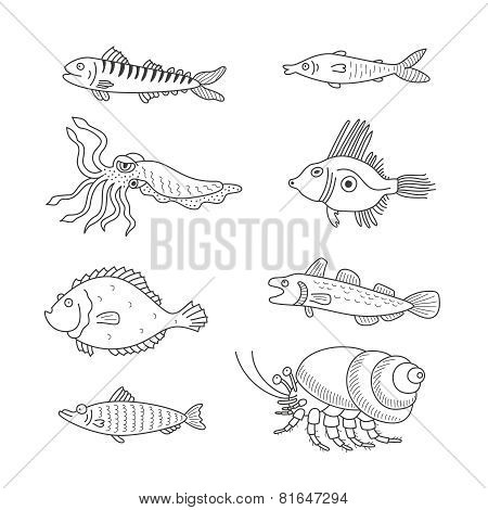 Set Of Monochrome Vector Doodle Fishes And Sea Dwellers Isolated On White Background