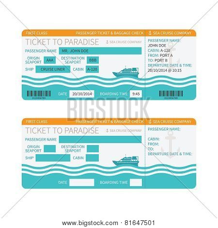 Sea Cruise Ship Boarding Pass Or Ticket Template
