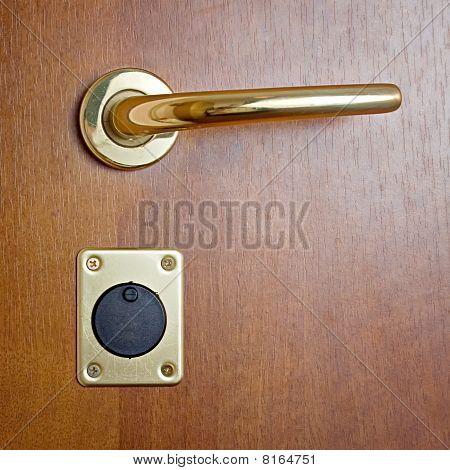 Brown Door Keyhole Lock Safe