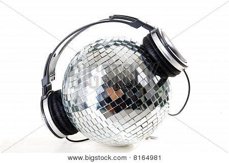 shiny disco ball with dj headphones