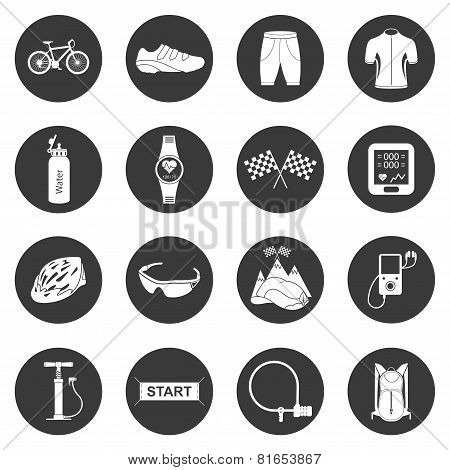 Vector Set Of Icons Isolated On Cycling