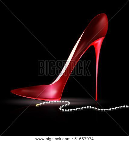 Red Shoe And Beads