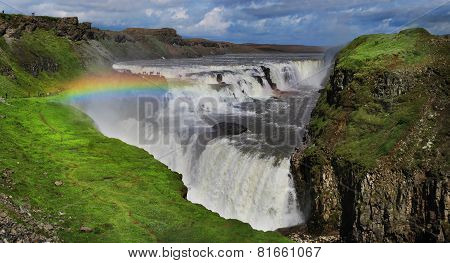 Waterfall in Iceland. Gullfoss.