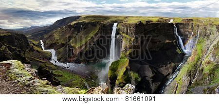 Waterfall in Iceland. Haifoss.